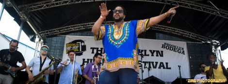 Rapper John Robinson peforms a song from his Vintage Album with the PVD band at the 11th Annual Brooklyn Hip-Hop Festival held at Williamsburg Park on July 11, 2015 in Brooklyn, NY