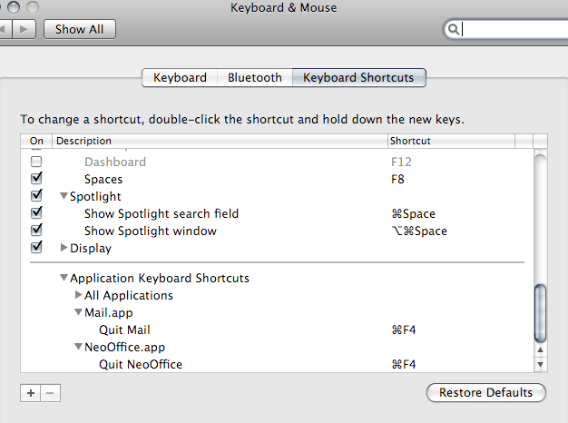 keyboard shorcuts change cocoa based applications quit shortcut