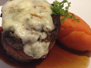 Filet Chateaubruand wrapped in pancetta and topped with gorgonzola. The side carrot puree on the side is not as special alone as it is once combined with the filet.