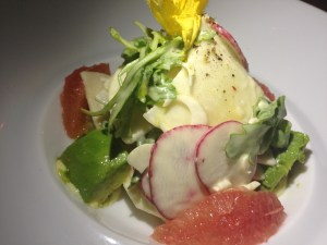 Florida avocado salad with grapefruit and heart of palm in a delicate citrus emulsion.