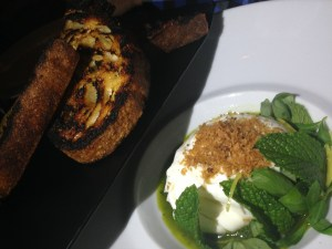 Local burrata marinated with salsa verde, crispy garlic, and lemon. Spectacular!