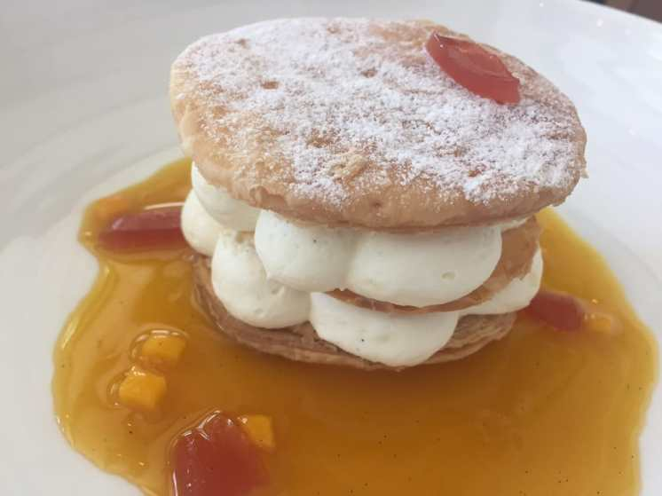 """Guava and Coconut Napoleon. Note: the """"guava"""" listed was just those little bits you see cut up in the photo."""