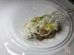 Wahoo Poke: Thai flavors, toasted peanut emulsion, green papaya, fresno chili