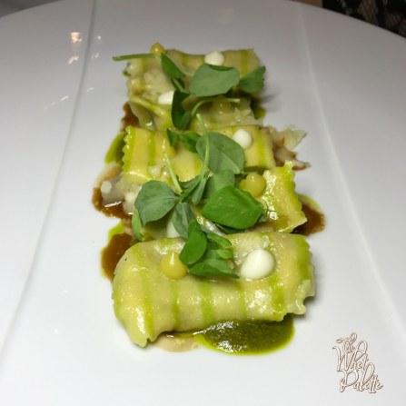 Ricotta Agnoletti: roasted miso, garlic scape pesto, braised beef, confit garlic