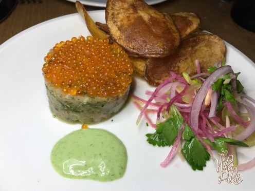Snapper Tartate: celery, radish, smoked trout roe, parsley sauce, potato chips