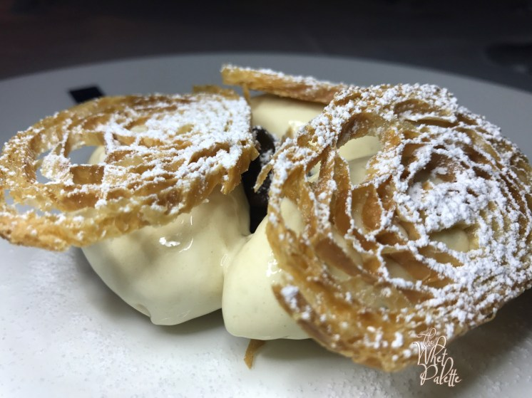 Dessert special: croissant ice cream topped with toasted croissant halves