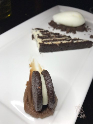 Cookies 'n' Cream: devil's food cake, cocoa nib cream, buttermilk sherbet