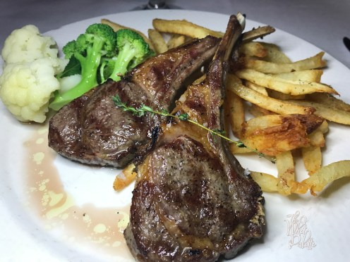 COLORADO (or maybe AUSTRALIAN) LAMB CHOPS charbroiled and served with steamed vegetables and fries
