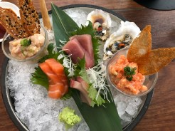 Sashimi Platter with yellowtail tartar and oysters