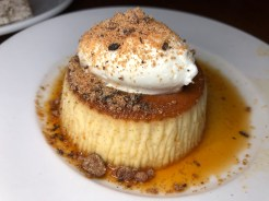 FLAN topped with candy cap mushroom, sambuca cream