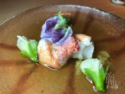 Organic VINAGARED MAINE LOBSTER with pea blossoms