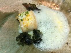 BLACK COD & AUTUM VEGETABLES: sweet corn, kohirabi, wild nori.