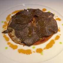 La Truffle Noire crispy tart, black truffle, bacon