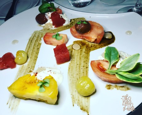 Heirloom Tomato: chili vinegar-compressed watermelon, olive fruit, agrodulce, cheese