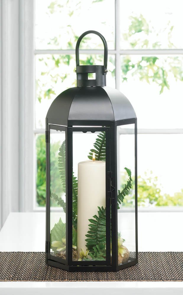 Decorative Candle Lanterns, Large Rustic Iron Lantern Candle Holder Outdoor