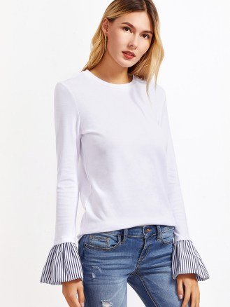 bell sleeve white navy tee