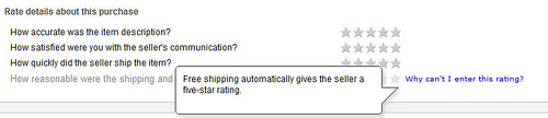 eBay changes their DSR feedback policy: Free shipping now equals 5 free stars