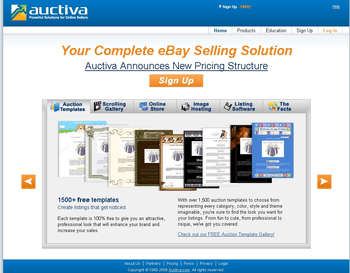 A screen shot of the Auctiva home page