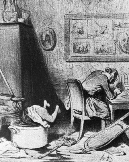Female author neglecting her family. Caricature by Honoré Daumier. (Fuck that guy.)