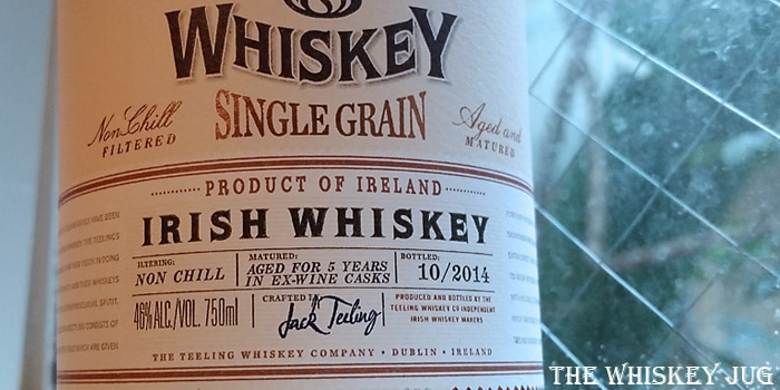 teeling single grain irish whiskey label the whiskey jug