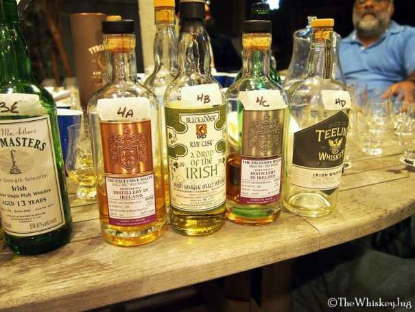Malt Nuts: Irish Single Malts Round 4 Whiskeys - 4A: Exclusive Malts Single Malt Irish 13 years (03-16): 54.2% - Refill Sherry Hogshead, 4B: Black Adder Drop Of The Irish Rum Finish: 59.8% - ex-Bourbon & Ex-Rum, 4C: Exclusive Malts Single Malt Irish 13 years (03-16): 52.7% - Sherry Hogshead, 4D: Teeling Brabazon 02 13 years (02-15): 55.6% - ex-Carcavelos
