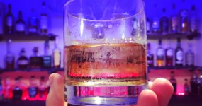 Clear Ice Cube in whiskey