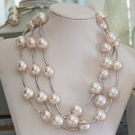 Necklace 3 Strand With Faux Pearls