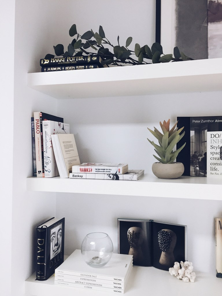 how to decorate your shelves in a minimal style