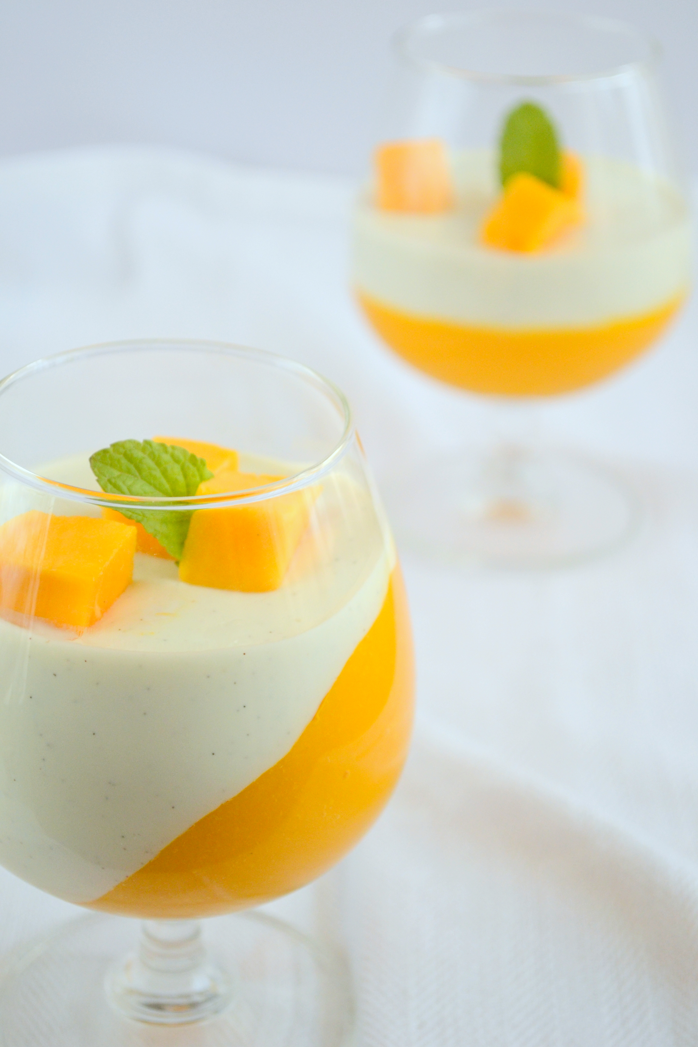 vanilla bean panna cotta with mango coulis the white ramekins. Black Bedroom Furniture Sets. Home Design Ideas