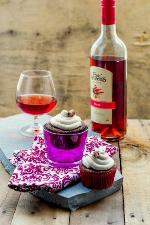 Dark Chocolate & Rosé Wine Cupcakes 2