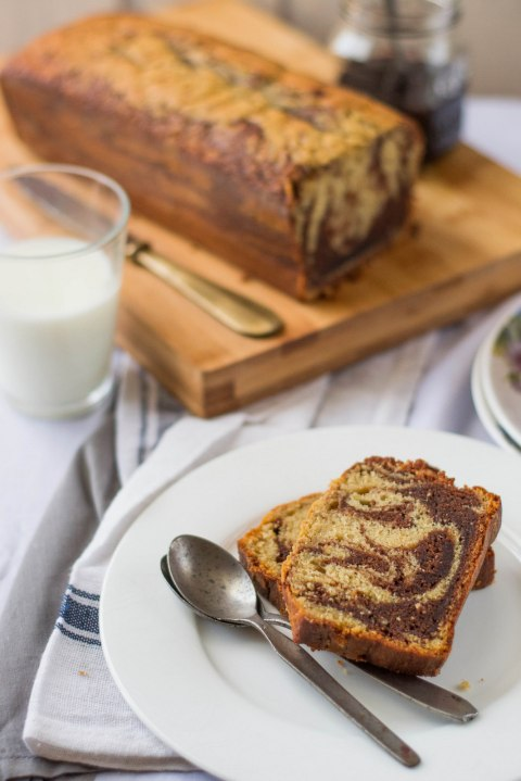 Banana Marbled Loaf Cake 6