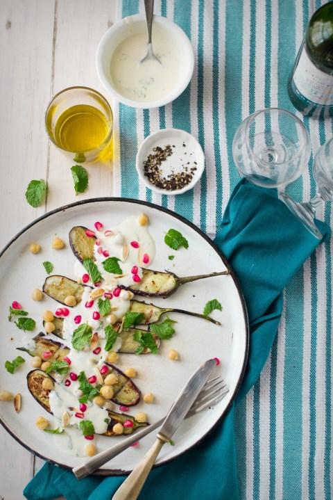 Grilled Eggplant Salad With Yogurt Dressing