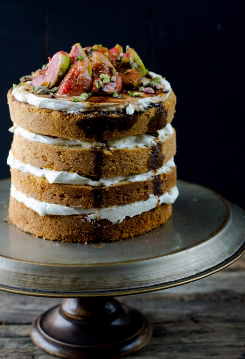 Buttermilk Country  Layered Cake With Mascarpone & Orange Balsamic Glazed Figs