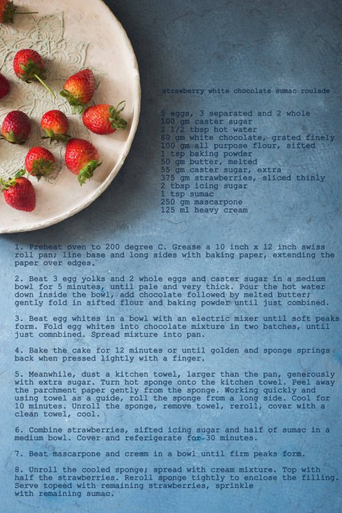 strawberry white chocolate & sumac roulade