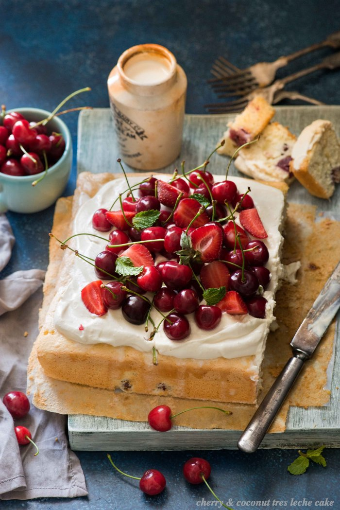 Cherry and Coconut Tres Leche Cake  | The White Ramekins