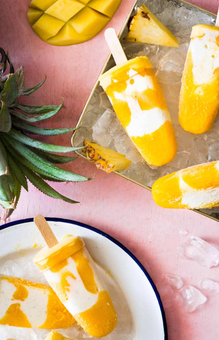 tropical fruit yogurt popsicles