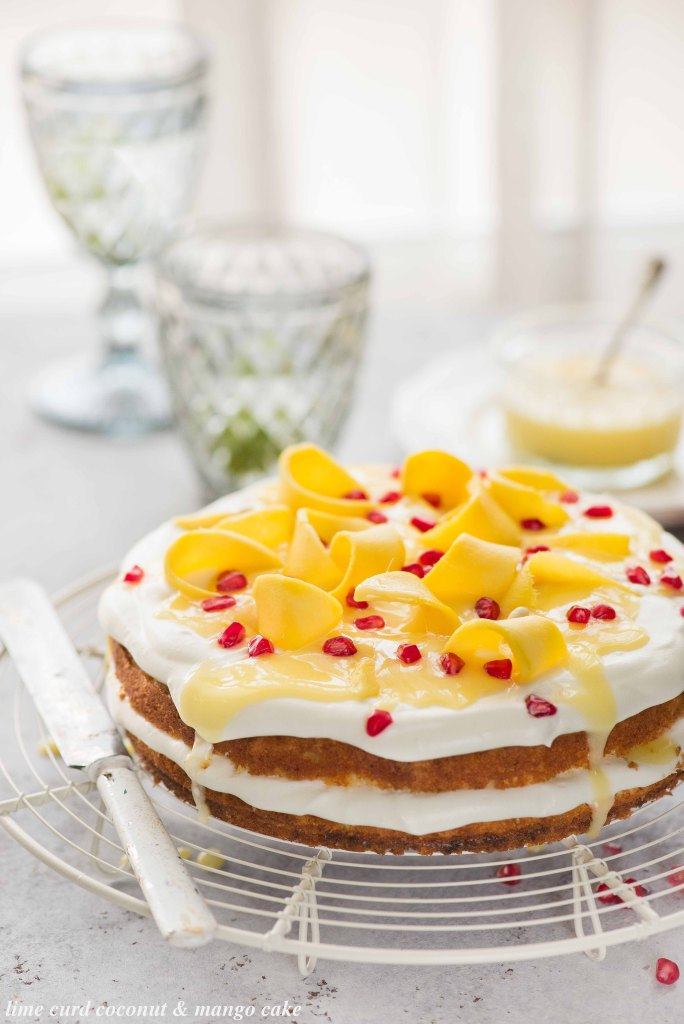 lime curd coconut & mango cake
