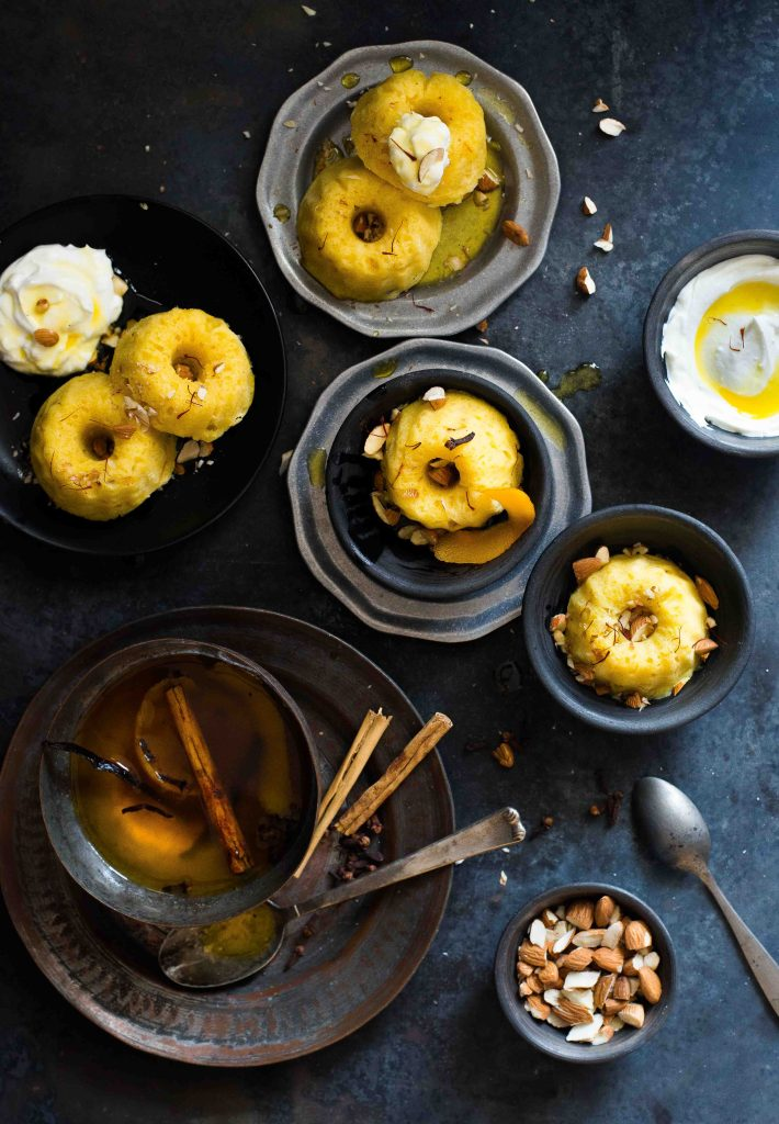 saffron honey syrup cakes