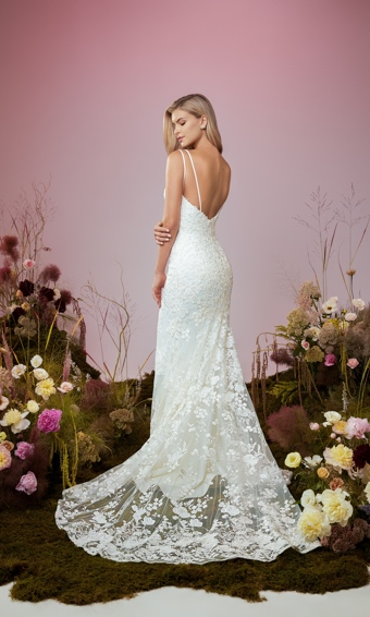 Back of double strapped plunging sweetheart bodice with fit and flare skit in beaded embroidered lace