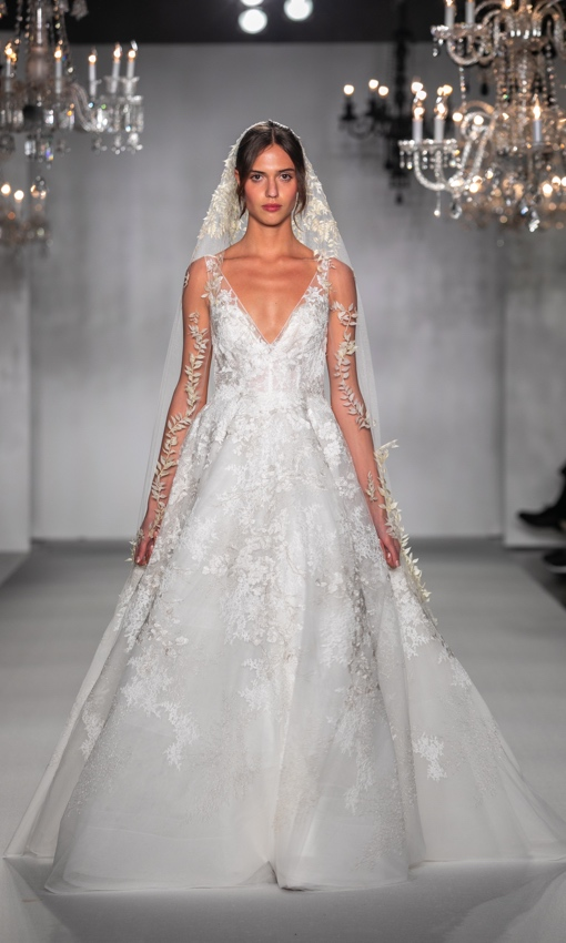 V-neck tulle and lace gown