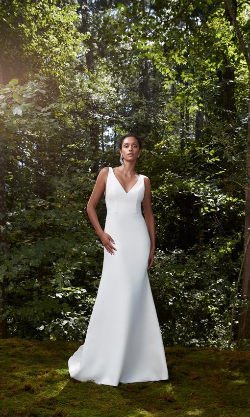 V-neck crepe wedding gown