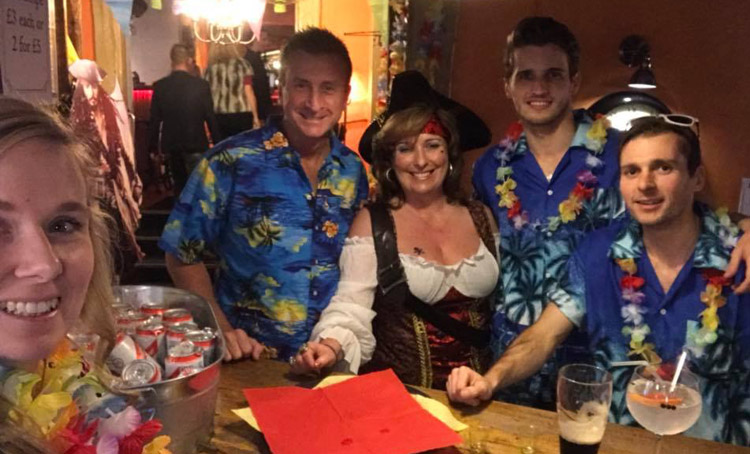 The team at Henleys White Swan Hotel at charity night