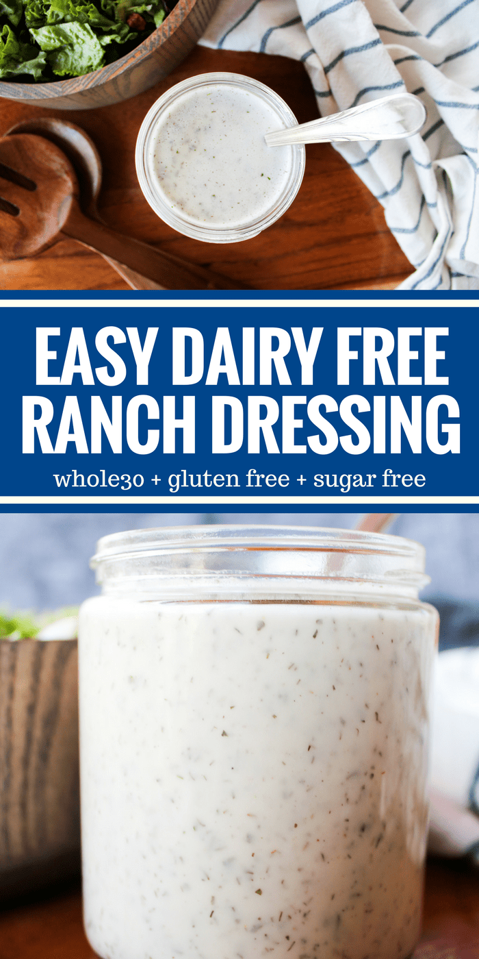 This is the easiest Ranch Dressing you'll ever make. It's dairy free so you can enjoy it on Whole30 and it's ready in less than 5 minutes!