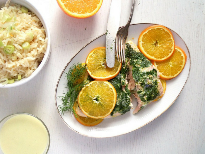 Orange Salmon with Dill and Orange Rice by Where is My Spoon
