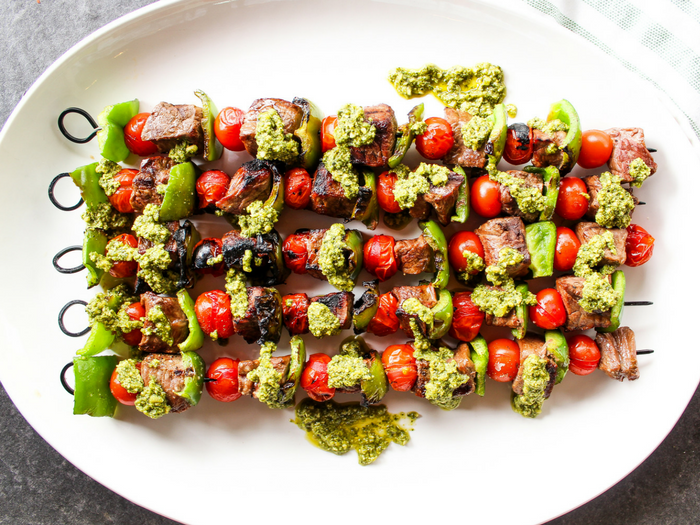 Pesto Steak Kabobs by The Whole Cook horizontal full plate