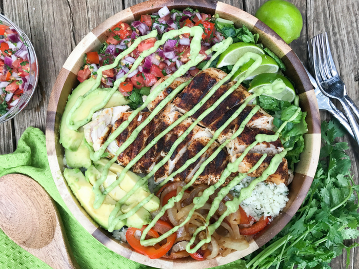 Grilled Chicken Cauli Rice Burrito Bowl by The Whole Cook HORIZONTAL FEATURE UPDATED