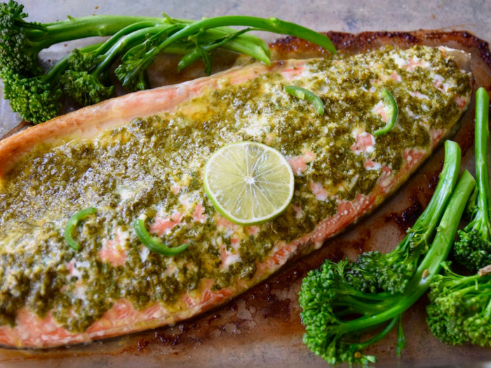 Spicy Cilantro Lime Baked Salmon by Tasting Page