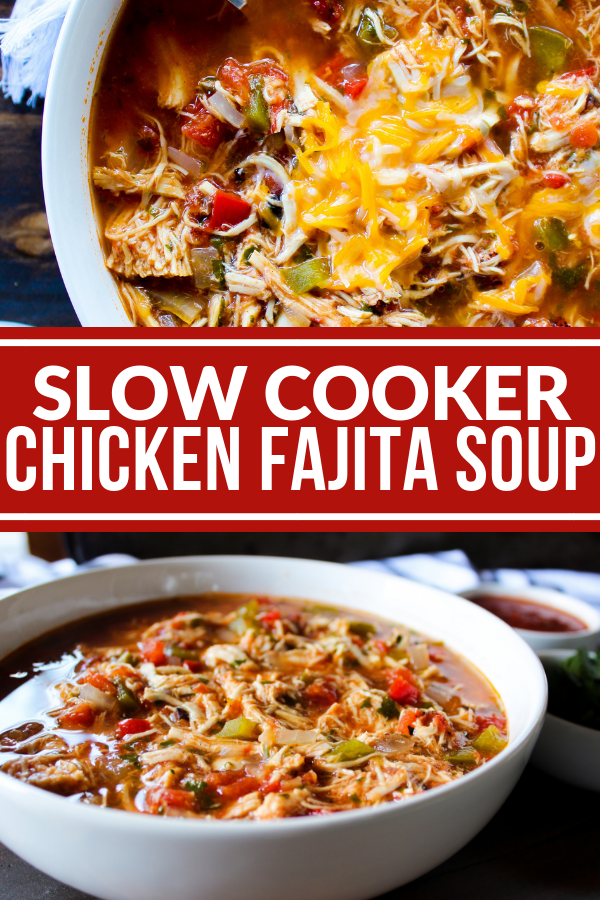 This Slow Cooker Chicken Fajita Soup is easy because everything goes right in the slow cooker! Top it however you like for a dinner the whole family will love.