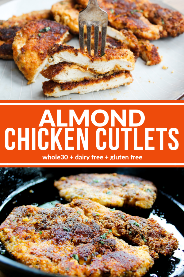These Almond Chicken Cutlets are so simple and really tasty. My whole family loves these! Plus they're Whole30 compliant, dairy free, and gluten free.