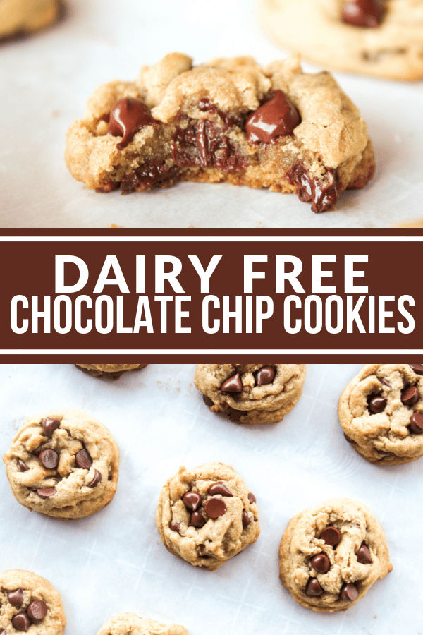 These Dairy Free Chocolate Chip Cookies are gooey and chewy in the middle with crunchy edges! Dairy lovers will adore them too! You honestly cannot tell there's no butter!